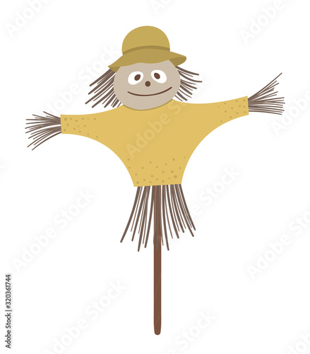 Vector scarecrow isolated on white background Wallpaper Mural
