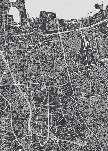 Obraz na plátně City map Jakarta, monochrome detailed plan, vector illustration
