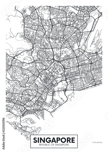 Valokuva City map Singapore, travel vector poster design