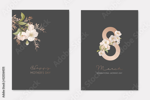 Romantic Trendy Greeting Cards Set for Happy Woman's Day 8 March Holiday. White Cherry Sakura Flowers with Leaves on Dark Background with Eight Number Nature Art Flyer Cartoon Flat Vector Illustration