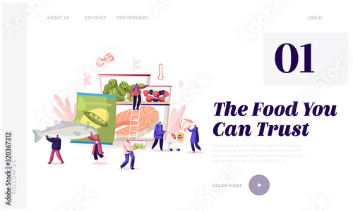 Obraz Frozen Food Website Landing Page. Characters Buying and Cooking Natural Iced Products Fresh Vegetable, Fruit Meat and Fish. Healthy Eating Conservation Web Page Banner Cartoon Flat Vector Illustration - fototapety do salonu