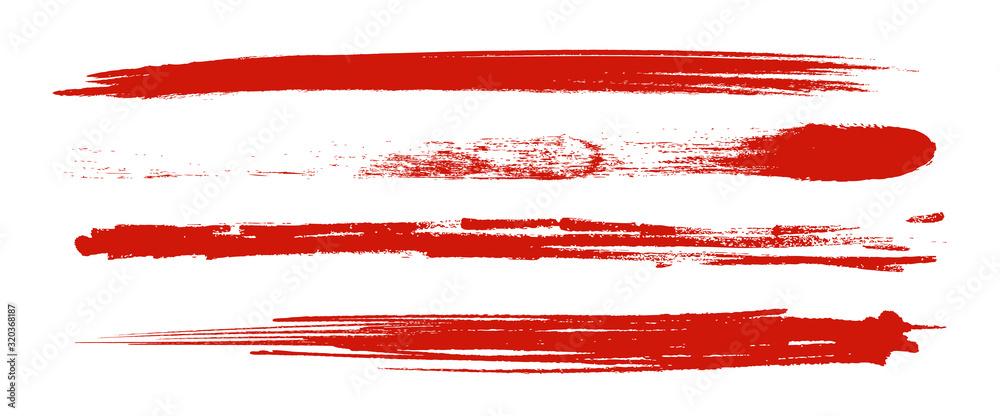Fototapeta アナログタッチ素材:筆の質感 墨 インク 筆模様 波模様