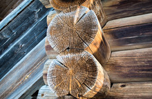 Cut A Old Log Home. Winter Ice