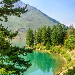 Panel Szklany Krajobraz Majestic mountain lake in Canada. Seton Lake. Lillooet, Whistler, Vancouver area.