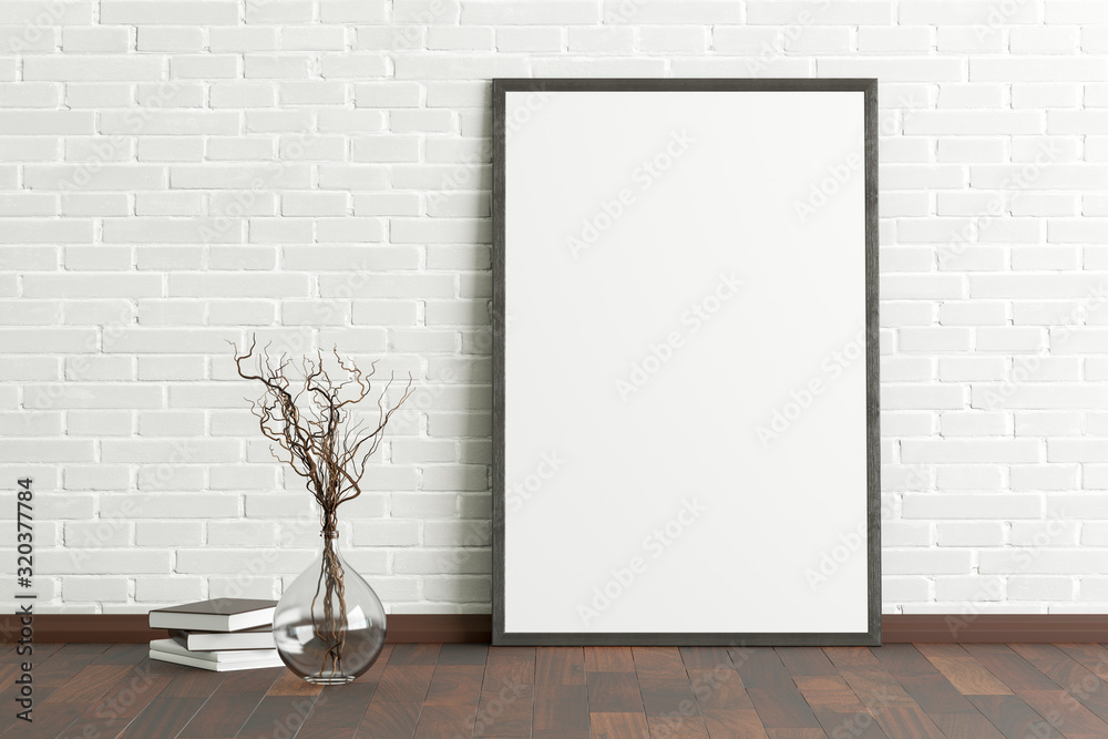 Fototapeta Blank vertical poster frame mock up standing on dark parquet floor next to white brick wall with vase and books. Clipping path around poster. 3d illustration