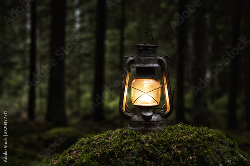 Old kerosene lamp on the moss in mysterious dark forest Canvas Print