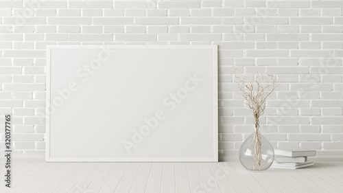 Fototapeta Blank horizontal poster frame mock up standing on white floor next to white brick wall with vase and books. Clipping path around poster. 3d illustration obraz