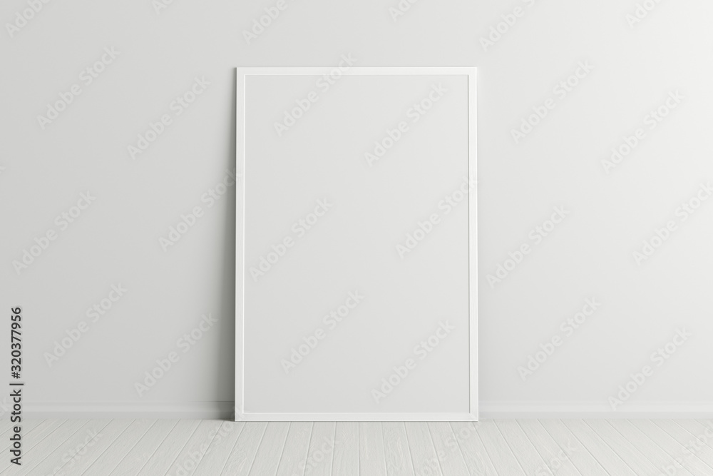 Fototapeta Blank vertical poster frame mock up standing on white floor next to white wall. Clipping path around poster. 3d illustration