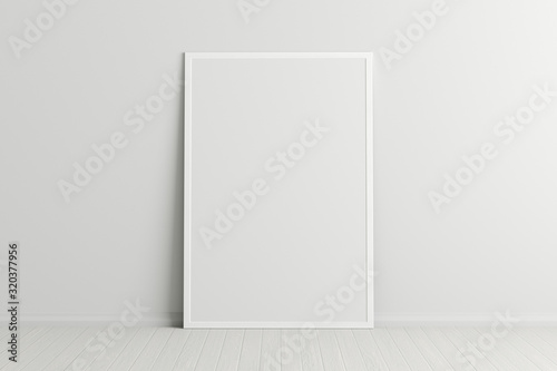 Fototapeta Blank vertical poster frame mock up standing on white floor next to white wall. Clipping path around poster. 3d illustration obraz