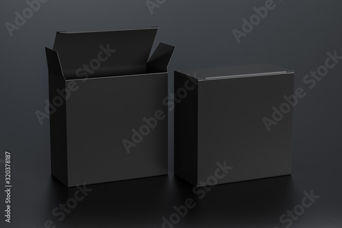 Blank black wide square box with open and closed hinged flap lid on black background Fototapete