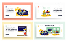 Home Studying And Schooling For Kids Website Landing Page Set. Domestic Educational Plan For Pupils. Children Get Education With Tutors Web Page Banner. Cartoon Flat Vector Illustration, Line Art