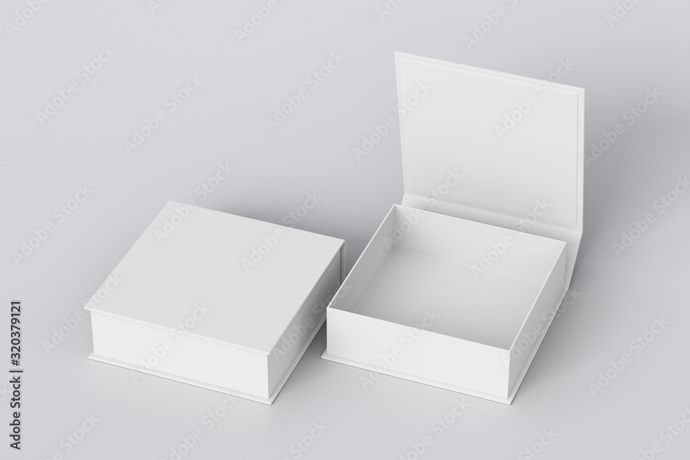 Fototapeta Blank white flat square gift box with open and closed hinged flap lid on white background. Clipping path around box mock up. 3d illustration
