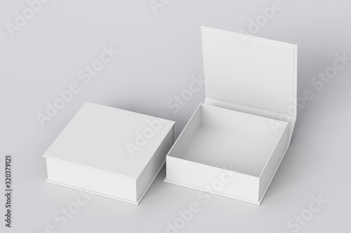 Blank white flat square gift box with open and closed hinged flap lid on white background Fototapeta