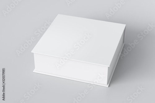Foto Blank white flat square gift box with closed hinged flap lid on white background