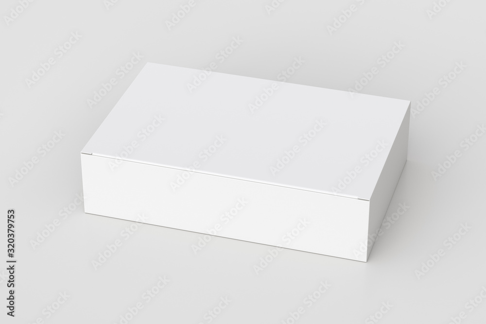Fototapeta Blank white wide flat box with closed hinged flap lid on white background. Clipping path around box mock up. 3d illustration