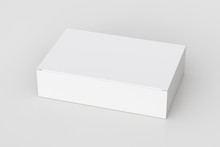 Blank White Wide Flat Box With Closed Hinged Flap Lid On White Background. Clipping Path Around Box Mock Up. 3d Illustration