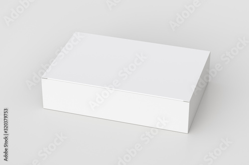 Fotografia Blank white wide flat box with closed hinged flap lid on white background