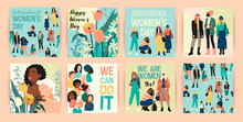Vector Set Of Illustrations With Abstract Women With Different Skin Colors. International Womens Day. Struggle For Freedom, Independence, Equality.