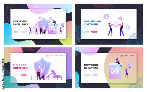 Fototapety, obrazy: Invention or Idea Copyright Protection Website Landing Page Set. Security Stand near Huge Shield with Lamp Icon and Gavel, People Study Patent Law Web Page Banner. Cartoon Flat Vector Illustration