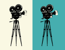 Movie Camera On Tripod Vintage. Projector, Cinema Retro Vector