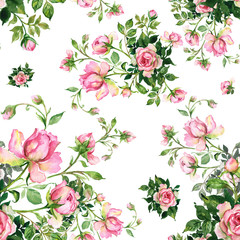 Fototapeta Róże Watercolor seamless pattern bouquet of roses in buds