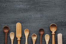 Empty Wooden Spoons And Scoops...