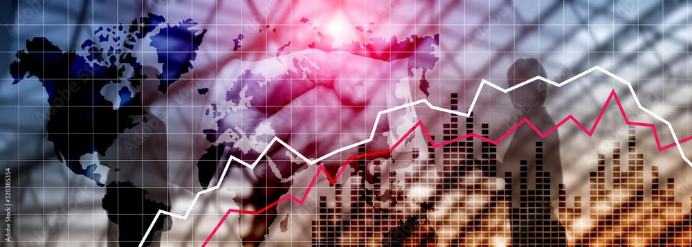 Fototapeta Coronaviridae Virus. Financial Crysis Recession Economic concept. Falling stock market due to the spread of the virus