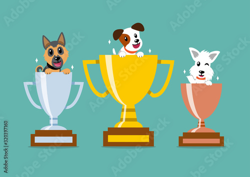 Cartoon character happy dogs with champion trophy set for design. Fototapet