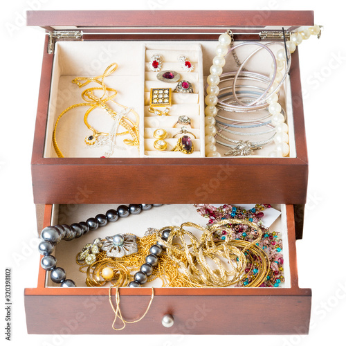 wooden jewellery boxes, isolated on  white background Canvas Print