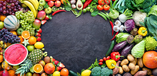 Food background with assortment of fresh organic fruits and vegetables Canvas Print