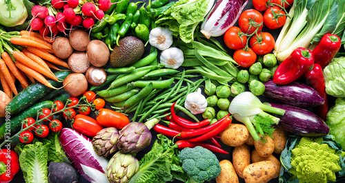 Food background with assortment of fresh organic vegetables - 320398931