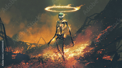 Fototapeta horror character of demon skeleton with fire flames in hellfire, digital art sty
