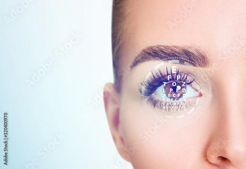 Woman eye and eyechart in scanning circle closeup. Wallpaper Mural