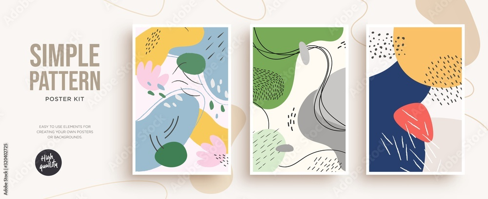Fototapeta Set of trendy fashion cover templates. Hand Drawn textures. Design for poster, card, invitation, placard, brochure, flyer. Vector