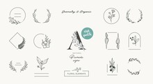 Set Of Minimalistic Elegant Geometric Floral Elements. Premade Decorative Fashion Labels, Signs