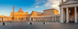 Leinwanddruck Bild - Panorama of the square and the Basilica of St. Peter in the Vatican at sunrise