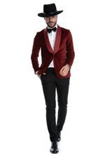 Elegant Fashion Man In Red Vel...
