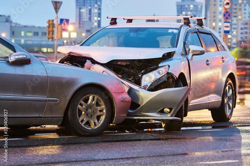 automobile crash accident on street. damaged cars Canvas Print