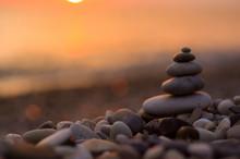 Stack Of Zen Stones On Pebble ...