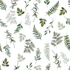 Panel Szklany Minimalistyczny Seamless pattern of fern branches, eucalyptus, green leaves on white background. Hand drawn. For eco design, print, wallpaper, wrapping paper. Vector stock illustration.