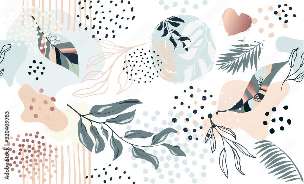 Egzotyczny wzór z roślin tropikalnych <span>plik: #320409783 | autor: Tolchik</span>
