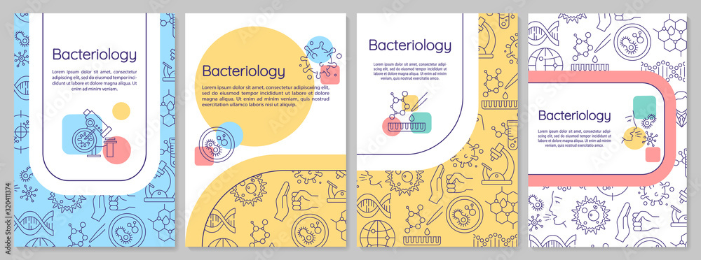 Fototapeta Bacteriology brochure template. Healthcare research. Flyer, booklet, leaflet print, cover design with linear icons. Vector layouts for magazines, annual reports, advertising posters