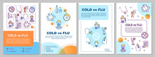 Cold Vs Flu Brochure Template. Respiratory Disease Symptoms. Flyer, Booklet, Leaflet Print, Cover Design With Linear Icons. Vector Layouts For Magazines, Annual Reports, Advertising Posters