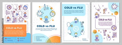 Obraz Cold vs flu brochure template. Respiratory disease symptoms. Flyer, booklet, leaflet print, cover design with linear icons. Vector layouts for magazines, annual reports, advertising posters - fototapety do salonu