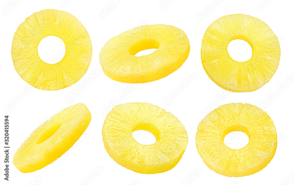Fototapeta pineapple slice, ring, isolated on white background, clipping path, full depth of field