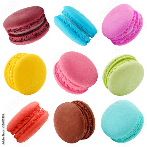 Fototapeta macaroons isolated on white background, clipping path, full depth of field