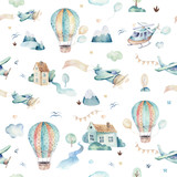 Watercolor set background illustration of a cute cartoon and fancy sky scene complete with airplanes, helicopters, plane and balloons, clouds. Boy seamless pattern. It's a baby shower design