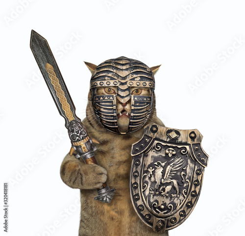 The beige cat knight in a closed helmet is armed with a shield with a dragon and an inlaid sword Slika na platnu