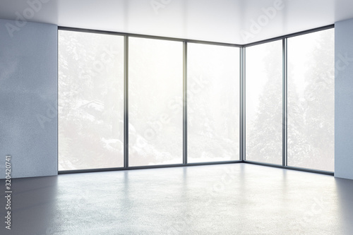 mata magnetyczna Contemporary interior room with window on city view.