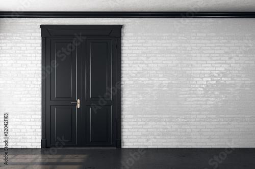 Fototapeta Wooden door in empty room obraz